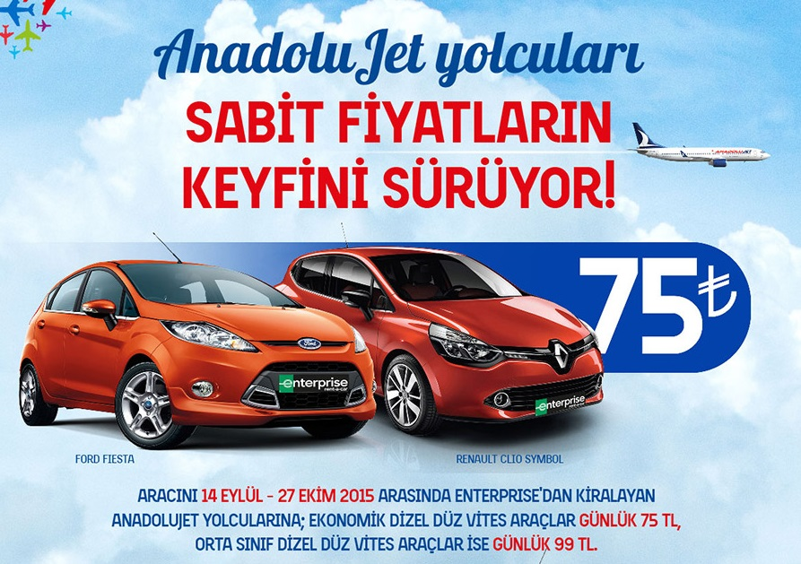anadolu jet yolcularına araç kiralama kampanyası
